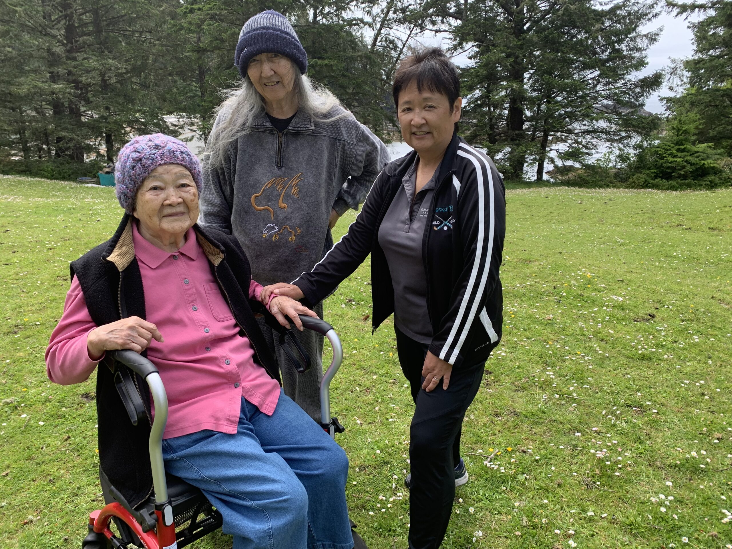 Pictured L-R Mary Kimoto and Ellen Kimoto Crowe-Swords on their property in Ucluelet, B.C. with Project Manager Eiko Eby. Photo by Susanne Tabata